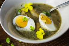 Przepis na This dark, green soup made out of California wild sorrel might surprise you