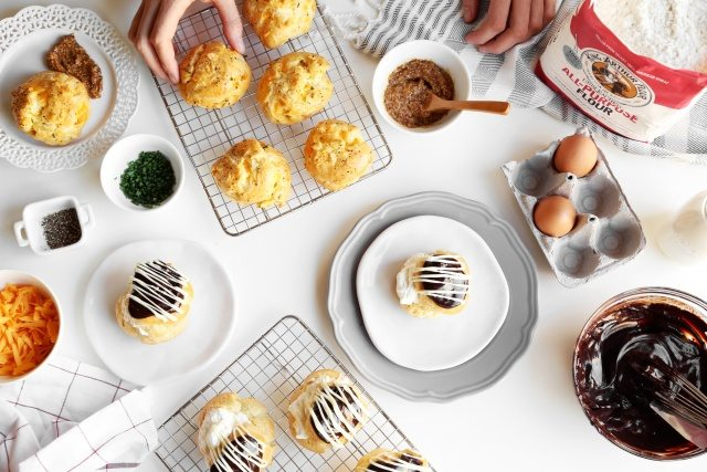 Baking Bootcamp: Dark Chocolate Cream Puffs or Cheese and Chive Gougères